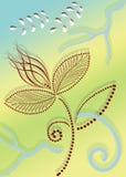 Blommor och kurvor royaltyfri illustrationer