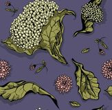 Blommor och leafs Hand-dragen modell Royaltyfri Illustrationer
