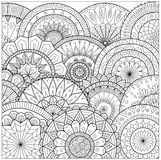 Blommor och mandalaslinje konst för färgläggningboken för vuxen människa, kort och andra garneringar Fotografering för Bildbyråer