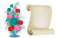 Blommor och meddelanden Royaltyfria Bilder