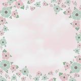 Blommor och moln, rosa färg-turkos tappningbakgrund Arkivfoto
