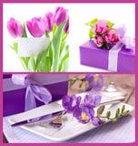 Blommor och present Royaltyfria Bilder