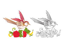 Blommor och svala Uppsättning av den kulöra prövkopia- och översiktsteckningen stock illustrationer