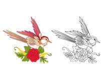 Blommor och svala Uppsättning av den kulöra prövkopia- och översiktsteckningen royaltyfri illustrationer