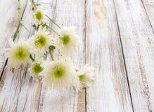 Blommor på den vita wood tabellen Royaltyfria Bilder