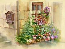 Blommor på fönstret royaltyfri illustrationer