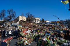 Blommor på självständighetfyrkanten i Kiev Ukraina royaltyfria bilder