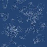 Blommor på träd Vit sömlös hand för blått och Royaltyfri Illustrationer