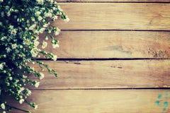 Blommor på wood texturbakgrund med copyspace Royaltyfri Bild
