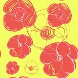 Blommor räcker utdraget seamless vektor för modell Arkivbilder