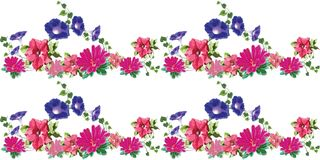 Blommor 3 sömlösa rosa färgblått royaltyfria foton