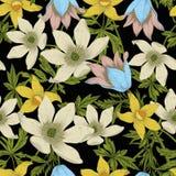 Blommor Seamless bakgrund royaltyfri illustrationer
