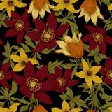 Blommor Seamless bakgrund stock illustrationer