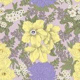 Blommor Seamless bakgrund Blommatextur yellow för modell för hjärta för blommor för fjärilsdroppe blom- Tappning klassiskt boston Fotografering för Bildbyråer
