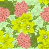 Blommor Seamless bakgrund Blommatextur yellow för modell för hjärta för blommor för fjärilsdroppe blom- Tappning klassiskt boston Royaltyfri Fotografi