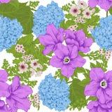 Blommor seamless vektor för bakgrund Blommatextur yellow för modell för hjärta för blommor för fjärilsdroppe blom- Tappning klass Arkivfoton