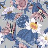 Blommor seamless vektor för bakgrund exotica vändkretsar royaltyfri illustrationer