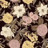 Blommor seamless vektor för bakgrund tappning för gullig illustration för fåglar set stock illustrationer