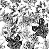 Blommor seamless vektor för bakgrund tappning för gullig illustration för fåglar set Royaltyfri Foto