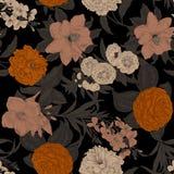 Blommor seamless vektor för bakgrund tappning för gullig illustration för fåglar set Royaltyfria Foton