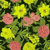 Blommor seamless vektor för bakgrund tappning för gullig illustration för fåglar set vektor illustrationer