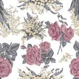 Blommor seamless vektor för bakgrund tappning för gullig illustration för fåglar set Royaltyfri Bild