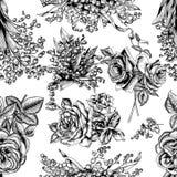 Blommor seamless vektor för bakgrund tappning för gullig illustration för fåglar set royaltyfri illustrationer