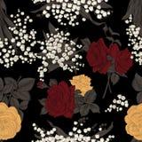 Blommor seamless vektor för bakgrund tappning för gullig illustration för fåglar set Arkivbild