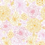 Blommor skisserade sömlös modellbakgrund Royaltyfri Fotografi