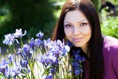 blommor som ler utomhus någon kvinna Fotografering för Bildbyråer