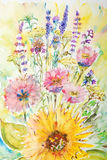 blommor som målar vattenfärg Royaltyfri Fotografi