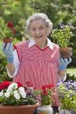 blommor som rymmer den le kvinnan för pensionär Arkivbilder