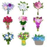 blommor som ställs in fjäder vektor illustrationer