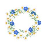 blommor ställde in vektorn Härlig krans Den eleganta blom- samlingen med isolerade blått, vit, guling lämnar och blommar vektor illustrationer