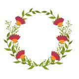 blommor ställde in vektorn Härlig krans Elegant blom- samling med isolerade sidor och blommor, dragen hand Design för Fotografering för Bildbyråer