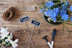 Blommor tecken, text tackar dig Royaltyfri Fotografi