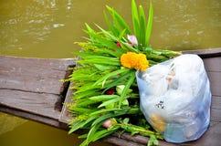 blommor till den buddistiska munken Royaltyfria Foton