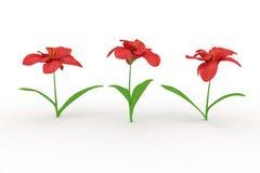 blommor tre vektor illustrationer