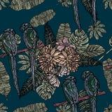 Blommor, tropiska sidor och sömlös modell för papegojor royaltyfri illustrationer