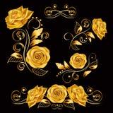 Blommor Vektorillustration med guld- rosor Dekorativa, utsmyckade, antika, lyxiga blom- beståndsdelar på svart bakgrund Arkivbild
