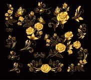 Blommor Vektorillustration med guld- rosor grupp sniden trägarneringdruvatappning Dekorativa, utsmyckade, antika, lyxiga blom- be Royaltyfria Foton