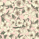 Blommor vita liljar seamless vektor för bakgrund stock illustrationer
