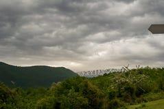 Blomningbuske på bakgrunden av berg och dramatisk himmel Arkivfoton