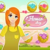 Blomsterhandelillustration med den kvinnliga blomsterhandlaren Character Royaltyfri Fotografi