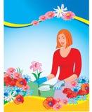 blomsterhandlare stock illustrationer