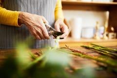 Blomsterhandlare Cutting Stems Close upp arkivfoton