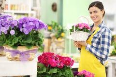Blomsterhandlarekvinna som ler med vita blommor för vide- korg Royaltyfri Fotografi