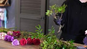 Blomsterhandlaren kopplas in, i att v?lja blommor f?r en till salu ljus och h?rlig sammans?ttning stock video