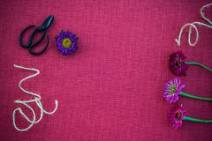 Blomsterhandlareworkspace på magentafärgad kanfasbakgrund royaltyfria bilder