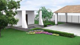 Blomsterrabatten för landskapdesignträdgården, 3D framför Arkivbilder